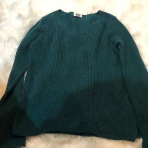 Green v-neck sweater.  Size large.
